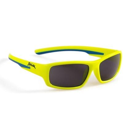 Óculos Ciclismo Infantil Spiuk Bungy Lente Fume Armação Amaralo Neon e Azul