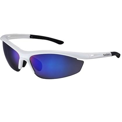 Óculos Ciclismo Shimano CE-S20R Branco Metálico Lente Azul Espelhada