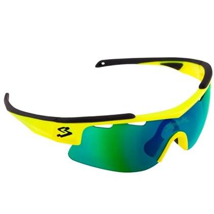 Óculos Ciclismo Spiuk Arqus Lente Verde Espelhada Armação Amarelo Neon e  Preto 2a8196063f