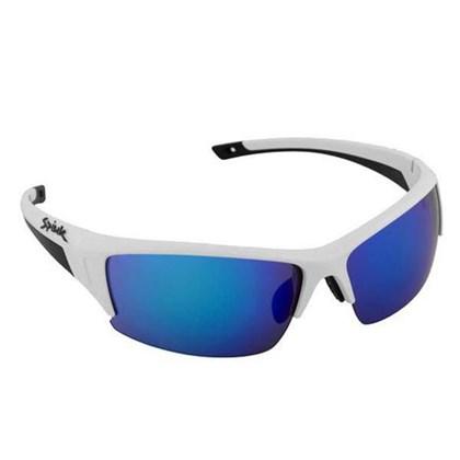 Oculos Ciclismo Spiuk Binomio Lente Azul Espelhada Armação Branca e Preta