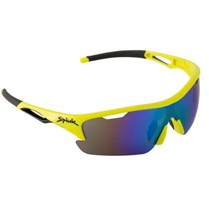 Óculos Ciclismo Spiuk Jifter Lente Azul Espelhada Armação Amarela Neon e Preta