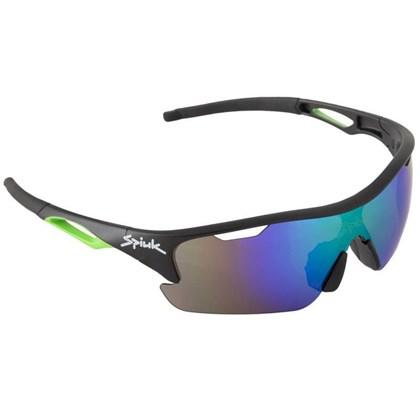 Óculos Ciclismo Spiuk Jifter Lente Verde Espelhada Armação Preta e Verde