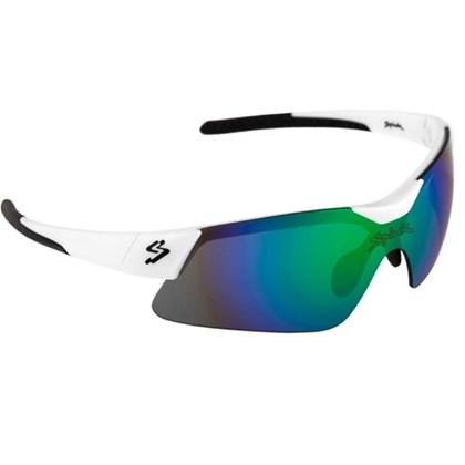 Óculos Ciclismo Spiuk Mamba Lente Azul Espelhada Armação Branco e Preto