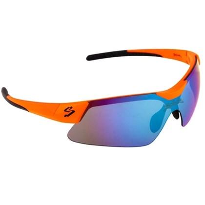 Óculos Ciclismo Spiuk Mamba Lente Azul Espelhado Armação Laranja e Preto