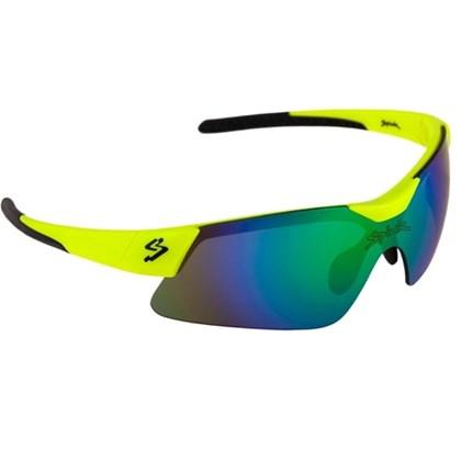 Óculos Ciclismo Spiuk Mamba Lente Verde Espelhada Armação Amarelo e Preto