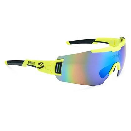 Óculos Ciclismo Spiuk Profit Lente Verde Espelhada Armação Neon