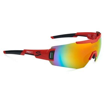 Óculos Ciclismo Spiuk Profit Lente Vermelha Espelhada Armação Vermelha