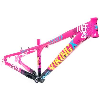 Quadro de Bike Freeride Alumínio Viking X Dirt Jump Tuff X25 Rosa e Azul aro 26