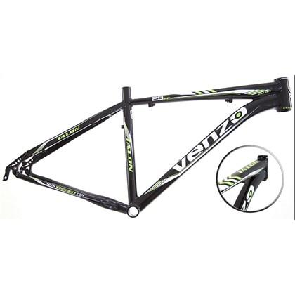 """Quadro de Bike MTB Alumínio Venzo Talon aro 29"""" Preto Verde"""
